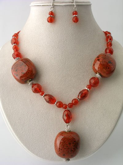 CHUNKY RED BOHO CERAMIC GLASS WOOD BEAD NECKLACE SET