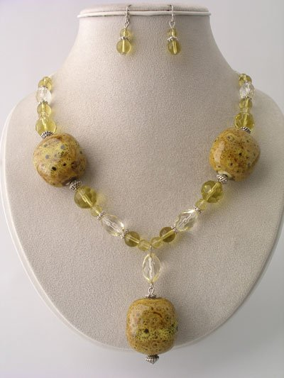CHUNKY YELLOW BOHO CERAMIC GLASS WOOD BEAD NECKLACE SET