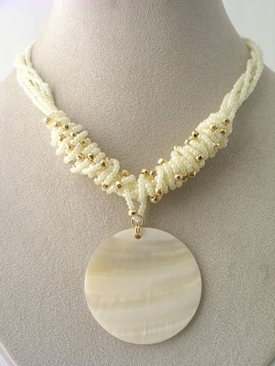 CHUNKY CREAM CREME OFF WHITE SHELL SEED BEAD NECKLACE SET