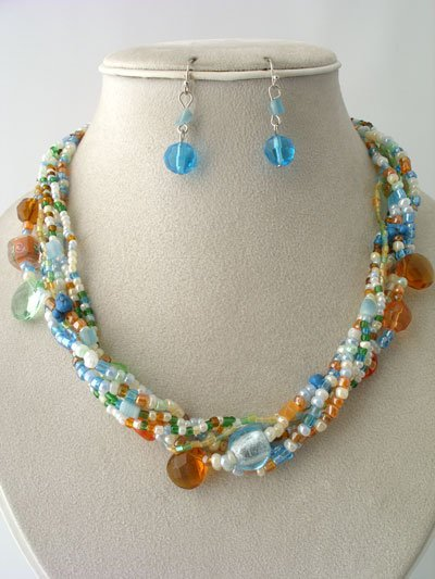 MULTI COLOR BOHO INDIAN GLASS SHELL SEED BEAD NECKLACE SET