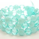 LIGHT BLUE TEAL MULTI STRAND GLASS BEAD BALL RIBBON BRACELET