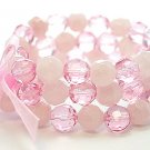 LIGHT PINK ROSE MULTI STRAND GLASS BEAD BALL RIBBON BRACELET