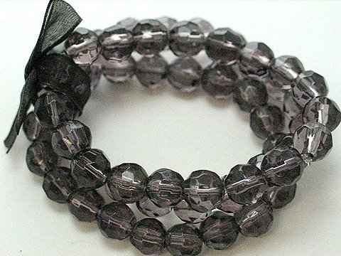 BLACK MULTI STRAND GLASS BEAD BALL RIBBON BRACELET