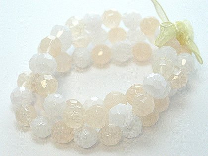 OFF WHITE CREAM CREME NATURAL MULTI STRAND GLASS BEAD BALL RIBBON BRACELET