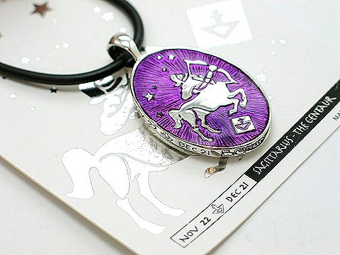 REVERSIBLE ZODIAC SAGITTARIUS BLACK CORD CENTAUR HOROSCOPE NECKLACE