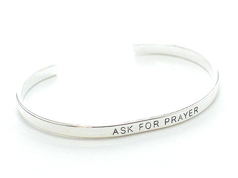 RELIGIOUS ASK FOR PRAYER CUFF BANGLE BRACELET