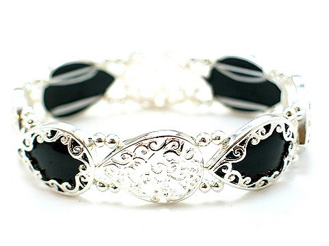 FILIGREE BLACK BANGLE BEAD  BRACELET