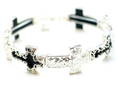 RELIGIOUS FILIGREE BLACK CROSS BANGLE BRACELET