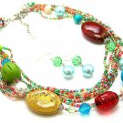 MULTI COLOR BOHO MULTI STRAND CERAMIC WOOD GLASS FAUX PEARL NECKLACE SET