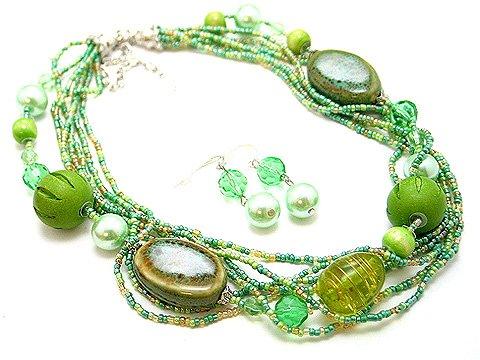 LIGHT OLIVE GREEN BOHO MULTI STRAND CERAMIC WOOD GLASS FAUX PEARL NECKLACE SET