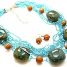 BLUE TURQUOISE BOHO MULTI STRAND CERAMIC INDIAN GLASS WOOD NECKLACE SET