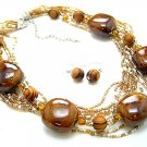 BROWN MAHOGANY MOCHA BOHO MULTI STRAND CERAMIC INDIAN GLASS WOOD NECKLACE SET