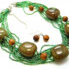 OLIVE GREEN BOHO MULTI STRAND CERAMIC INDIAN GLASS WOOD NECKLACE SET