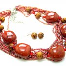 RED BOHO MULTI STRAND CERAMIC INDIAN GLASS WOOD NECKLACE SET