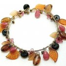 BROWN MULTI COLOR LEAF BEAD BANGLE  BRACELET