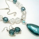 GREEN ICE BEAD NECKLACE SET