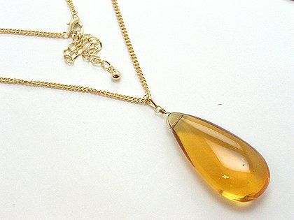 LONG SIMULATED TOPAZ GLASS NECKLACE