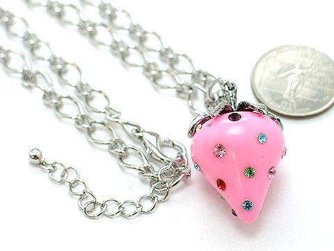 3D LIGHT PINK ROSE STRAWBERRY CRYSTAL NECKLACE
