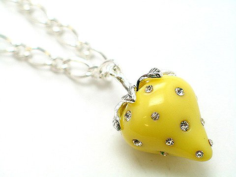 3D YELLOW STRAWBERRY CRYSTAL NECKLACE