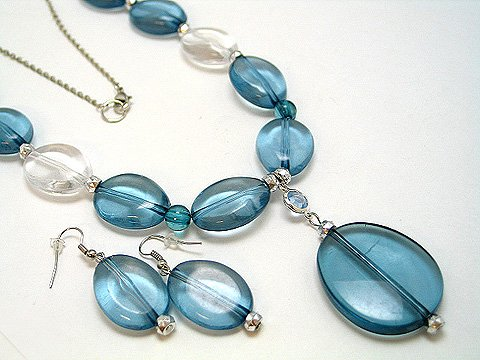 LONG BLUE ICE BEAD NECKLACE SET