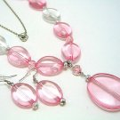 LONG PINK ICE BEAD NECKLACE SET