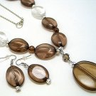 LONG BROWN ICE BEAD NECKLACE SET