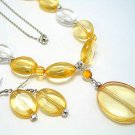 LONG YELLOW ICE BEAD NECKLACE SET