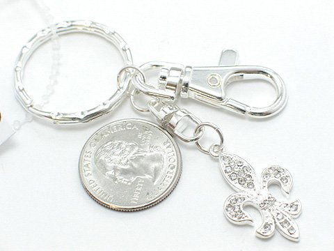 ROYAL FRENCH FLEUR DE LIS NEW ORLEANS PURSE BAG HANDBAG TOTE CRYSTAL CHARM KEYCHAIN KEY CHAIN