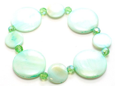 LIGHT SEA GREEN SHELL CIRCLE DISK BRACELET