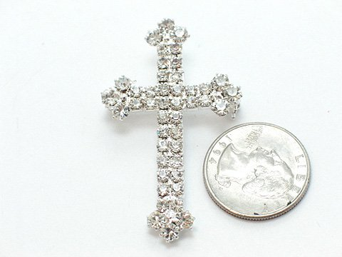 CLEAR AUSTRIAN CRYSTAL CROSS BROOCH PIN