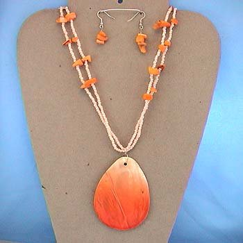 LONG CHUNKY ORANGE SHELL SEED BEAD NECKLACE SET