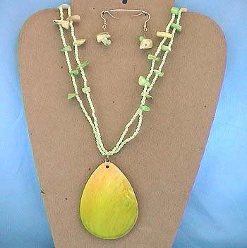 LONG CHUNKY GREEN SHELL SEED BEAD NECKLACE SET