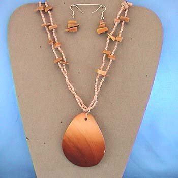 LONG CHUNKY BROWN SHELL SEED BEAD NECKLACE SET