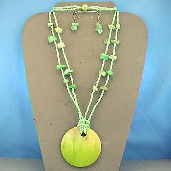 LONG CHUNKY LIGHT OLIVE GREEN SHELL SEED BEAD NECKLACE SET