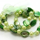 GREEN MULTI STRAND SHELL FAUX PEARL BEAD RIBBON BRACELET