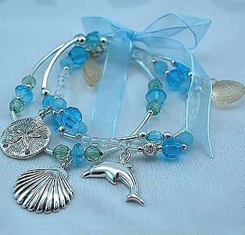 MULTI STRAND THREE ROW TROPICAL DOLPHIN SEA LIFE SHELL STARFISH SAND DOLLAR RIBBON BRACELETS