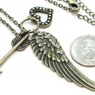 VINTAGE LOOK  ANGEL WING HEART ARROW PENDANT DOUBLE CHAIN NECKLACE
