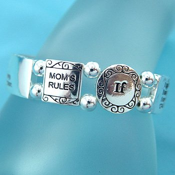 MOTHERS MOMS RULES WORD MESSAGE INSPIRATIONAL BRACELET