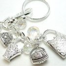 CHUNKY MARCASITE PURSE HAND BAG LOCKET TOTE CHARM KEYCHAIN