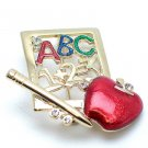 SCHOOL TEACHER TEACHERS APPLE ABC ALPHABET PENCIL BROOCH PIN