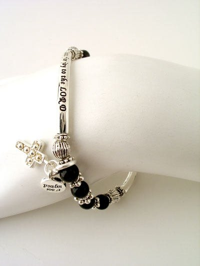 RELIGIOUS PSALM 100:1 SHOUT FOR JOY CROSS BRACELET