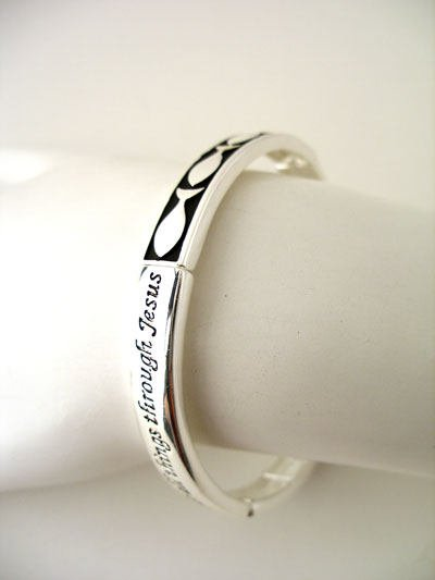 RELIGIOUS PHILIPPIANS 4:13 I CAN DO ALL THINGS STRENGTHEN BANGLE BRACELET