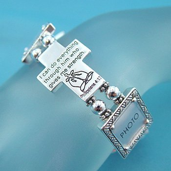 RELIGIOUS PHILIPPIANS 4:13 PHOTO MEMORY PICTURE HOLDER BRACELET