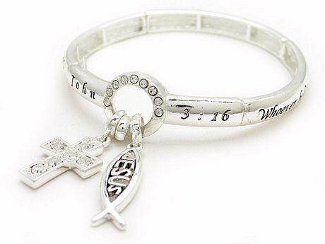 RELIGIOUS JOHN 3:16 JESUS FISH WORD BANGLE BRACELET