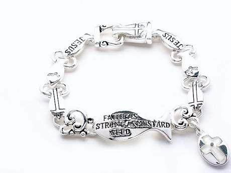 RELIGIOUS MATTHEW 17:20 FAITH JESUS FISH BRACELET
