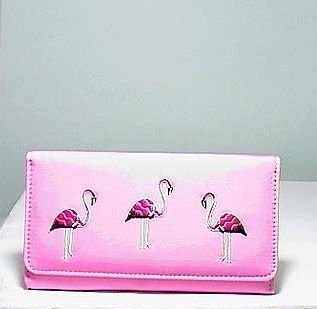 PINK FLAMINGO ISLAND COIN PURSE CHECK BOOK WALLET HOLDER