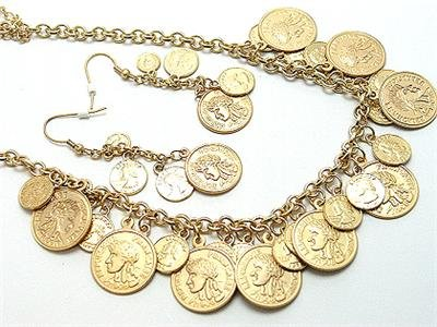 ANTIQUE STYLE FRENCH TYPE REPLICA COIN NECKLACE SET