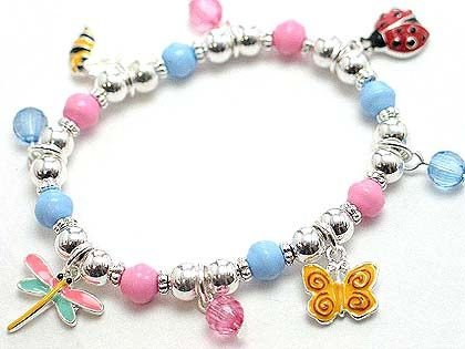 KIDS DRAGON FLY BUTTERFLY LADY BUG BUMBLE BEE BRACELET