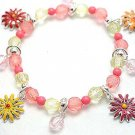 KIDS CHILDRENS FLOWER FLOWERS BEAD BRACELET