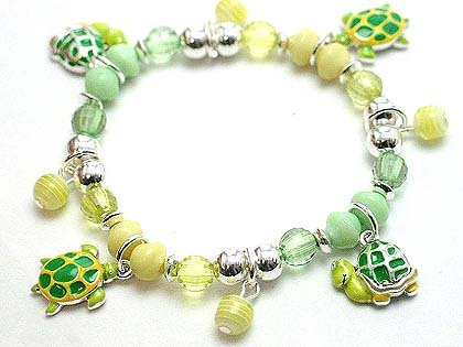 KIDS CHILDRENS SEA TORTOISE TURTLE BEAD BRACELET